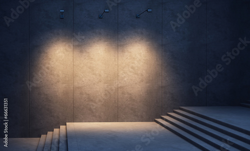 Aluminium Trappen illuminated concrete wall