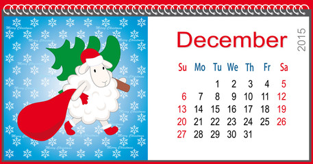 Calendar for December and lamb dressed as Santa