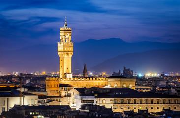 Palazzo Vecchio twilight, Florence, Italy