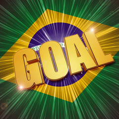 golden goal over Brazilian flag