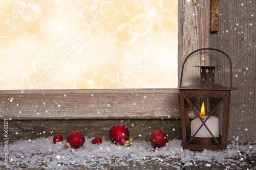 canvas print picture Weihnachtliches Fest als Hintergrund mit Laterne