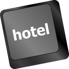 Hotel key in place of enter key - business concept