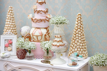 Elegant sweet table on dinner or event party