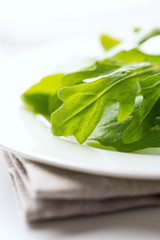 Fresh arugula leaves on napkin