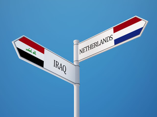 Netherlands Iraq  Sign Flags Concept