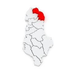 Map of Kukes. Albania.