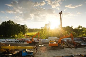 modern orange excavator machines