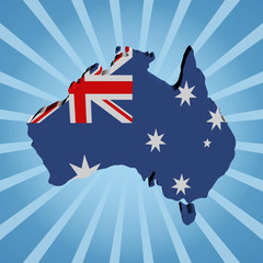 Australia map flag on blue sunburst illustration