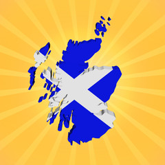Scotland map flag on sunburst illustration