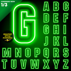 Abstract neon tube alphabet for light board. Condensed Green