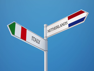 Netherlands Italy  Sign Flags Concept