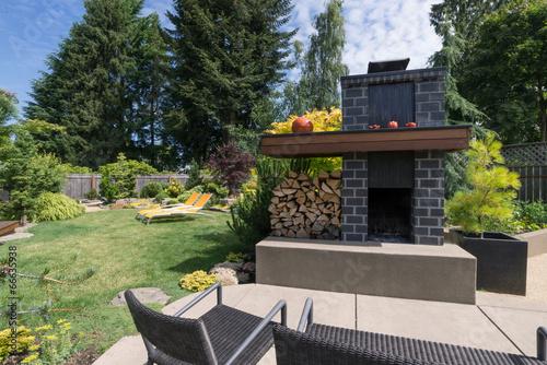 Fotobehang Tuin Garden Fireplace