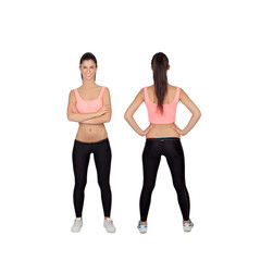 Front and back of woman in fitness clothes