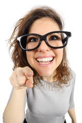Geek girl pointing at camera