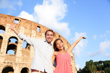 Rome couple happy by Colosseum travel fun