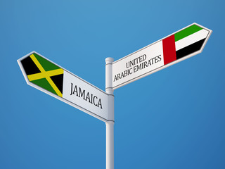United Arab Emirates. Jamaica  Sign Flags Concept