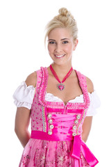 Bayerische Tracht: Frau in rosarotem Dirndl am Oktoberfest