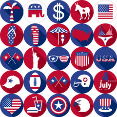 Set of various icon USA graphics design