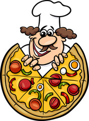 italian chef with pizza cartoon illustration