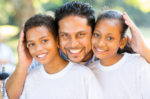 happy indian father and kids closeup