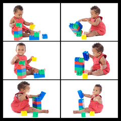 Collage beautiful baby playing with building blocks