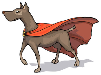 Super hero dog with a cape