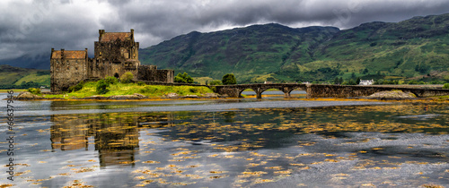 Leinwanddruck Bild Panoramic of Eilean Donan Castle, Highlands, Scotland