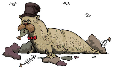 extravagant looking seal, with top hat and bow tie