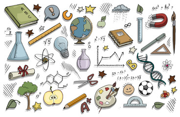 doodle set of school related items