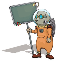 Alien dog character,in a space suit, holding a sign