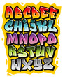 Cartoon comic graffiti doodle font alphabet. Vector - 66638973
