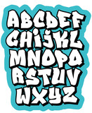 Fototapety Cartoon comic graffiti doodle font alphabet. Vector