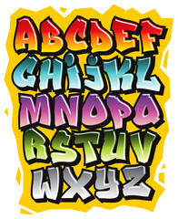 Cartoon comic graffiti doodle font alphabet. Vector