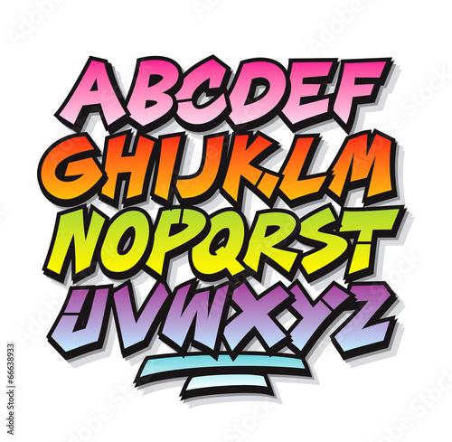 Bright cartoon comic graffiti doodle font alphabet. Vector