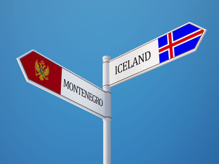 Iceland Montenegro.   Sign Flags Concept