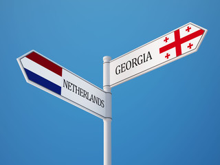 Netherlands Georgia  Sign Flags Concept