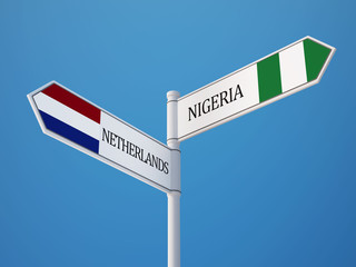 Nigeria Netherlands  Sign Flags Concept
