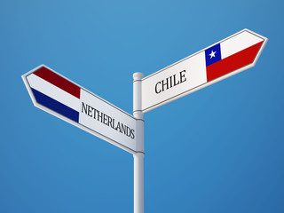 Chile Netherlands  Sign Flags Concept