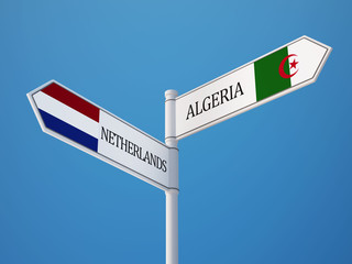 Algeria Netherlands  Sign Flags Concept