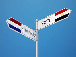 Egypt Netherlands  Sign Flags Concept