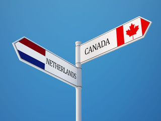 Canada Netherlands  Sign Flags Concept