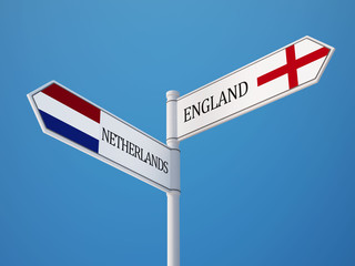 England Netherlands  Sign Flags Concept
