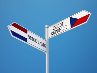 Czech Republic Netherlands  Sign Flags Concept