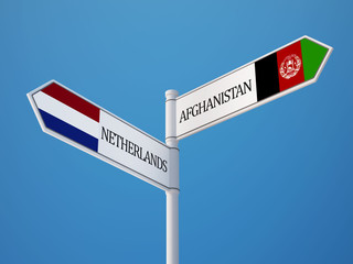 Afghanistan. Netherlands  Sign Flags Concept