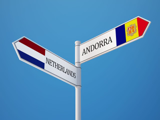 Andorra Netherlands  Sign Flags Concept