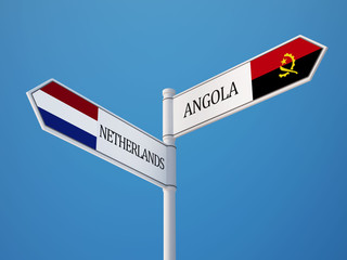 Angola Netherlands  Sign Flags Concept