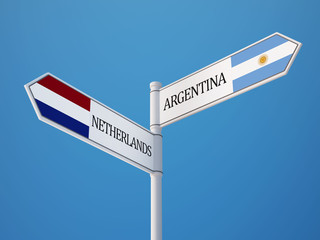 Argentina Netherlands  Sign Flags Concept
