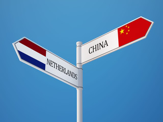 China Netherlands  Sign Flags Concept