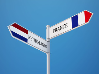 France Netherlands  Sign Flags Concept