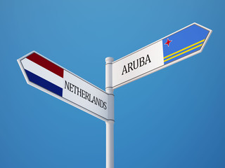 Aruba. Netherlands  Sign Flags Concept